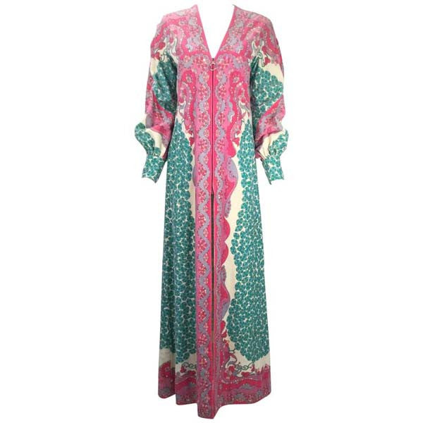 1960s Emilio Pucci Terry Cloth Multicolor Caftan