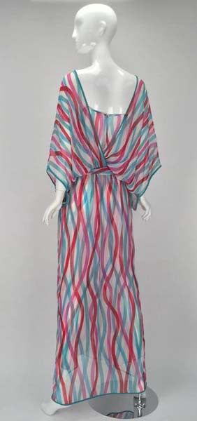 Giorgio Sant' Angelo Silk Chiffon Ribbon Maxi Dress