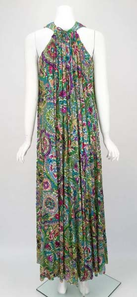 Gorgeous 1960s Multi Colored Chiffon Beaded Maxi Dress