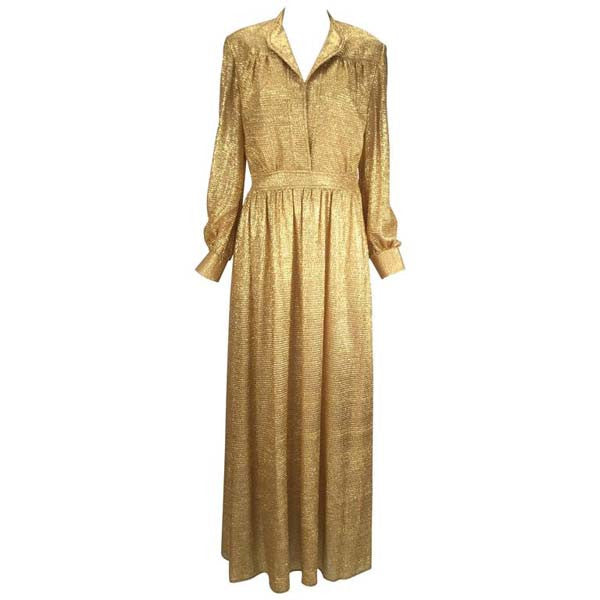 Vintage 1970s Gold Metallic Long Sleeve Maxi Dress