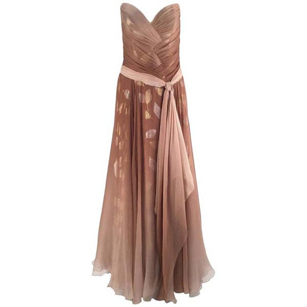 Gorgeous 1980s Bob Mackie Ombre Taupe Silk Crepe Gown - MRS Couture