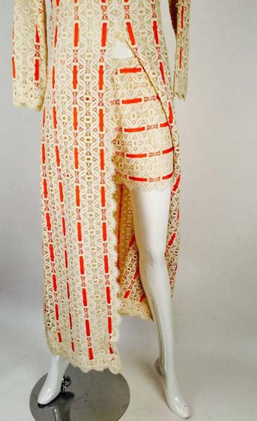 1970s Esther Wolf Ribbon and Lace Overdress and Shorts/Hot Pants