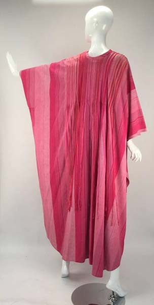 1970s Josefa Multi Pink Striped Mexican Kaftan with Ribbon Trim