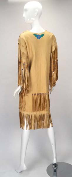 Authentic 1970s Native American Leather Handmade/painted Fringe Dress