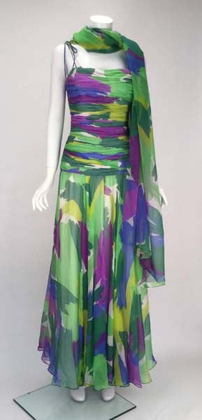 1990s Silk Abstract Evening Gown