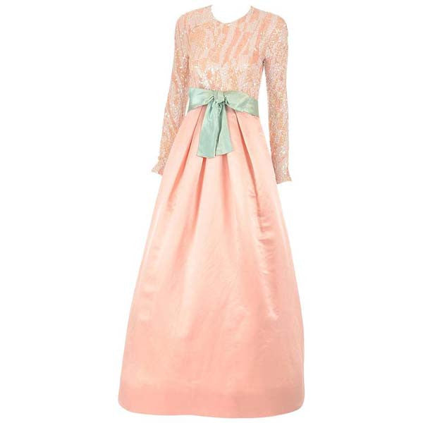 1960s Arnold Scaasi Pink Silk and Sequin Evening Dress