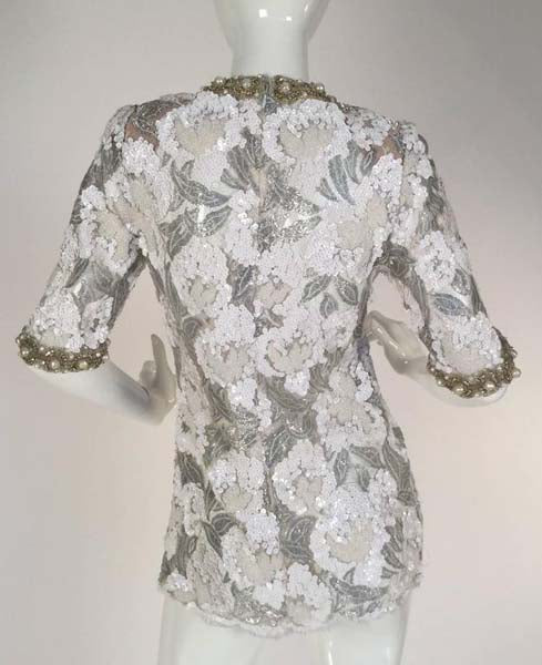 Beautiful 1970s Adolfo Silver and White Sequin and Beaded Lace Top