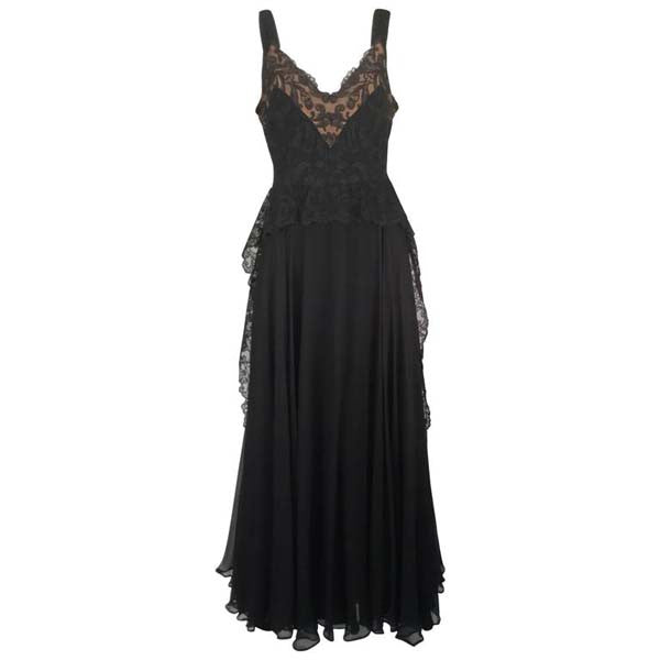 1940s Black Silk Evening Dress with Lace Overlay