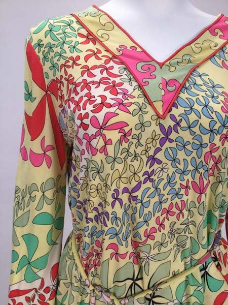 Amazing 1970s Bessi Multicolored Silk Ensemble