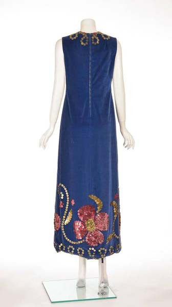 a9b95a09011 1970s Blue Velvet Maxi Dress with Large Gold Sequins - MRS Couture