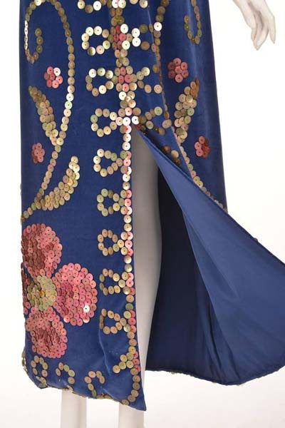 1970s Blue Velvet Maxi Dress with Large Gold Sequins