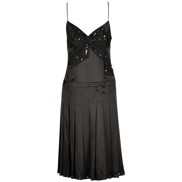 Moschino Black Silk Cocktail Dress with Bow Applique