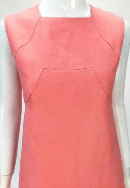 1960s Donald Brooks Salmon Linen Sleeveless Shift Dress