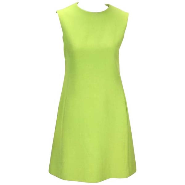 1960's Joan Leslie for Kasper Lime Green Sleeveless Shift Dress