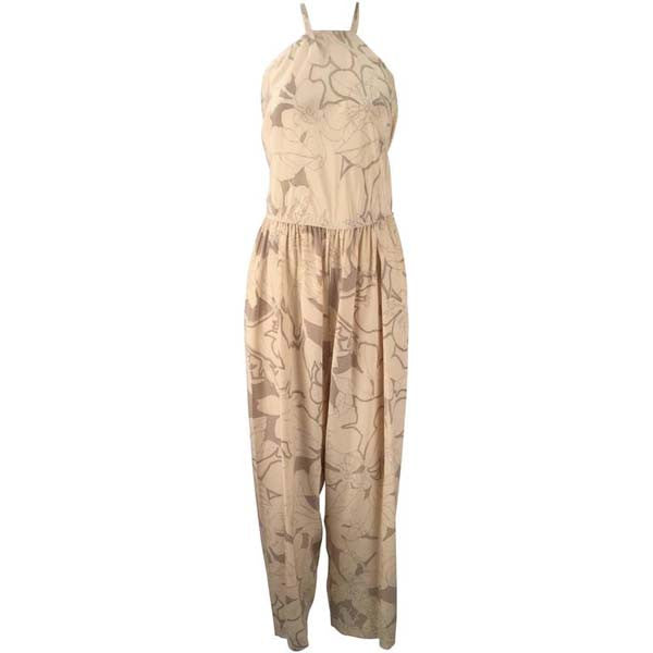 1970s Stephen Burrows Silk Cream and Light Brown Halter Jumpsuit