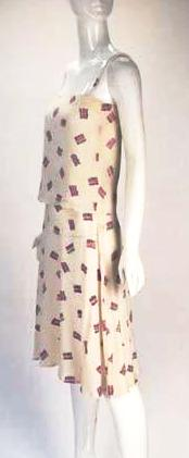 1980s Diane Von Furstenberg Silk Two Piece Tank Top and Skirt Ensemble