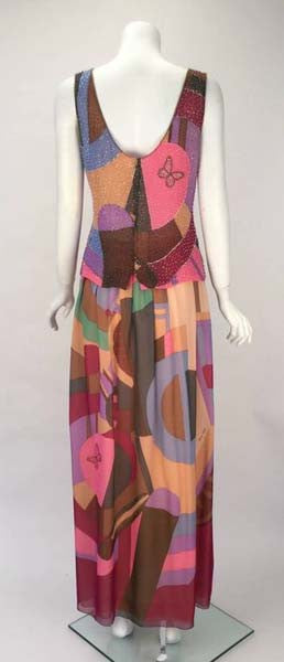 1980s Hanae Mori Silk Multicolored Butterfly Print Ensemble