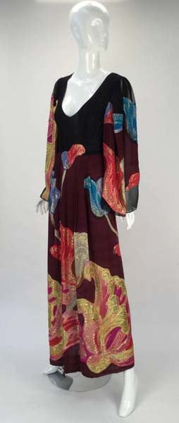 Exquisite 1970s Pauline Trigere Silk Multicolored Metallic Evening Dress