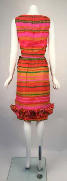 1960s Bill Blass Multicolored Chiffon Striped day Dress
