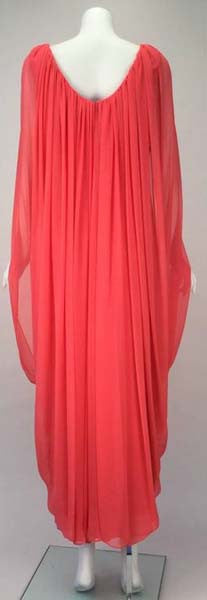 1970s Victor Costa Coral Grecian Draped Chiffon Evening Dress