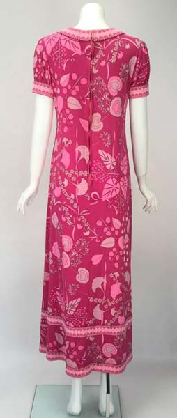 1960s Averardo Bessi Pink Silk Jersey Printed Dress