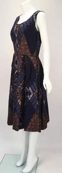 1950s Ikat Blue and Brown Dress with Subtle Sequin Handwork