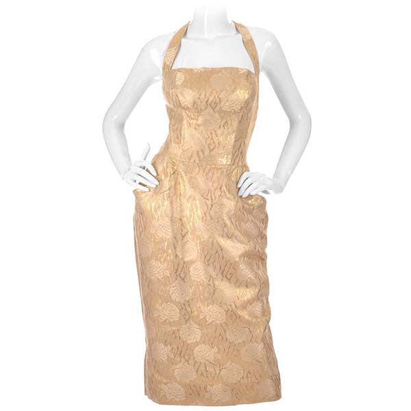 Early 1960s Mignon Gold Floral Racer Back Dress