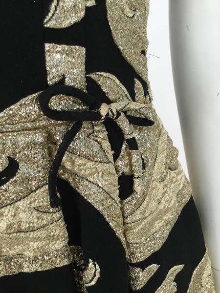 1950s Hannah Troy Black and Gold Lame Brocade Dress
