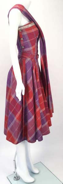 Late 1940s Tina Leser Cotton Madras Dress With Sash