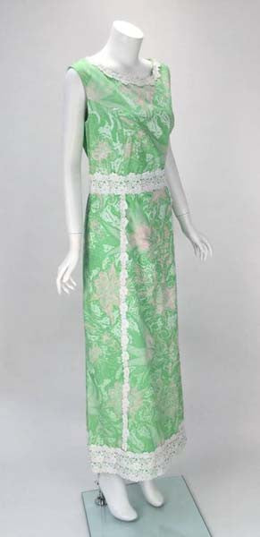 1960s Multi-Color Cotton Floral Print Maxi by Shifts International of Miami