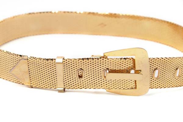 VIntage Whiting and Davis Gold Mesh Metal Belt