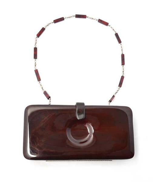 1960s Italian Mod Dark Brown Lucite Clutch with Circle Indent