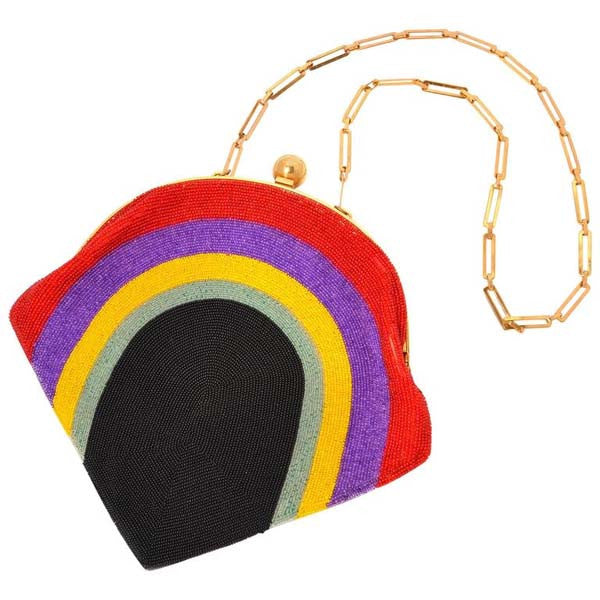 1960's Pierre Cardin Beaded Rainbow Purse