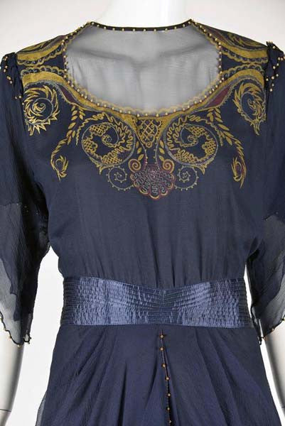 8b2ce0f809c01 1970s Zandra Rhodes Handed Beaded   Hand Painted Navy Silk Chiffon Dress