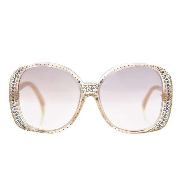 1980s Nina Ricci Clear Prescription Sunglasses with Rhinestones