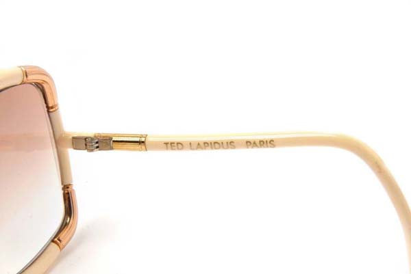 1970s Ted Lapidus Paris White and Gold Framed Sunglasses