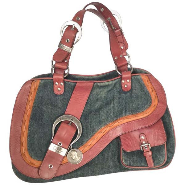 2009 Dior Denim and Leather Double Gaucho Saddle Bag
