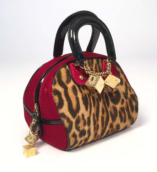 "Iconic 2004 Christian Dior Red Velvet and Leopard Print Pony Hair ""Gambler"" Handbag"