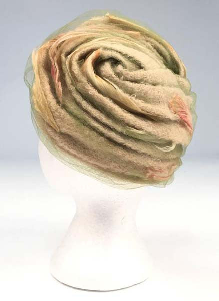 1960s Christian Dior Neutral Boucle and Painted Feather Chapeaux