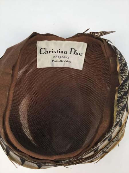 1960s Christian Dior Hand Painted Pheasant Feather Chapeaux