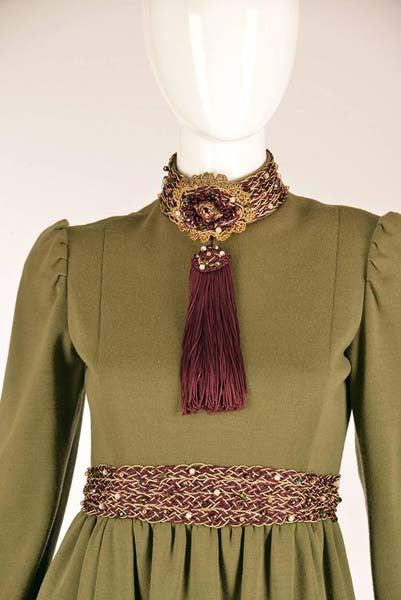 Late 1960s Geoffrey Beene Olive Green Dress