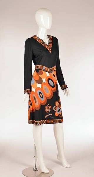 1960s Pucci Black Silk Jersey and Floral Dress