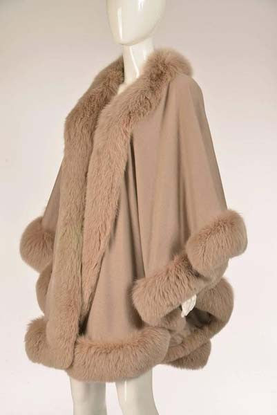 Vintage Taupe Wool Blend Knit Cape with Fox Fur Trim
