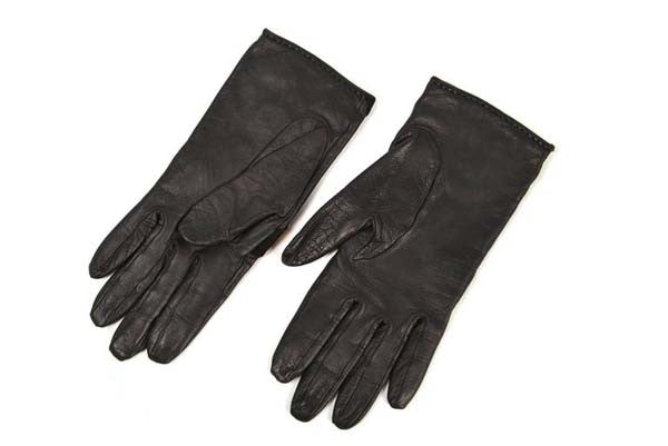 Vintage Hermes Paris Black Leather Gloves