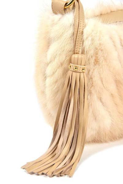 Paolo Masi White Mink and Leather Hobo Style Bag