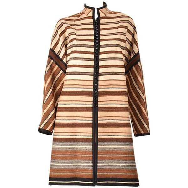1960's Shireen McKee Haute Couture Striped Wool Coat