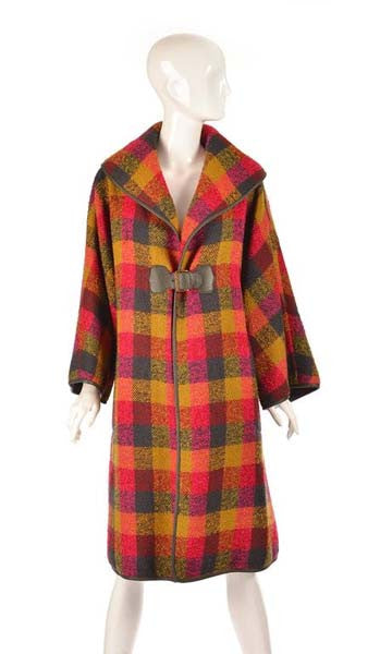 Rare 1950's Bonnie Cashin Wool and Leather Plaid Coat