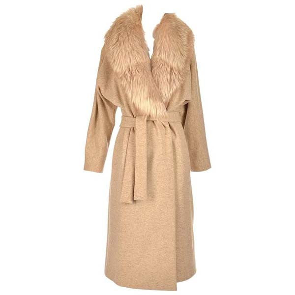 Late 1970's Bill Blass Camel Colored Wool and Fox Fur Coat