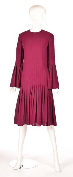 1960s Pierre Cardin Eggplant Purple Pleated Dress
