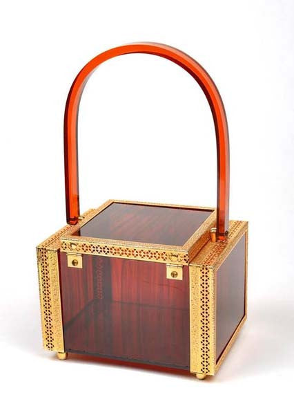 1950s Tortoise Shell Lucite Box Purse